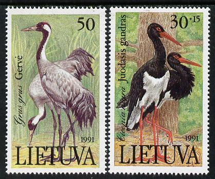 Lithuania 1991 Red Book (Birds) set of 2 unmounted mint, SG 498-19*