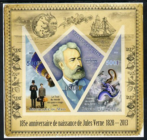 Mali 2013 185th Birth Anniversary of Jules Verne imperf sheetlet containing 2 triangular & one diamond shaped values unmounted mint