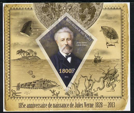 Mali 2013 185th Birth Anniversary of Jules Verne imperf s/sheet containing one diamond shaped value unmounted mint