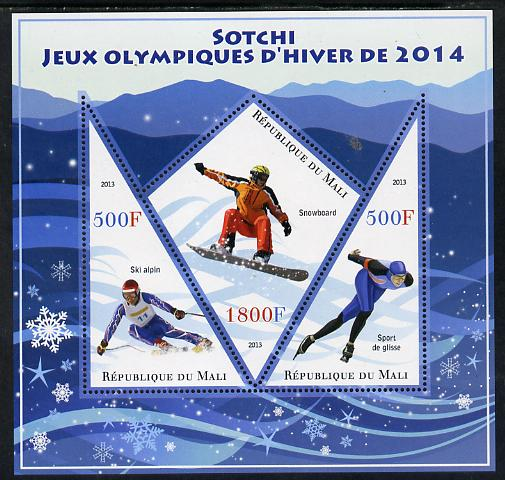 Mali 2013 Sotchi Winter Olympics perf sheetlet containing 2 triangular & one diamond shaped values unmounted mint, stamps on olympics, stamps on skiing, stamps on snowboard, stamps on ice skating