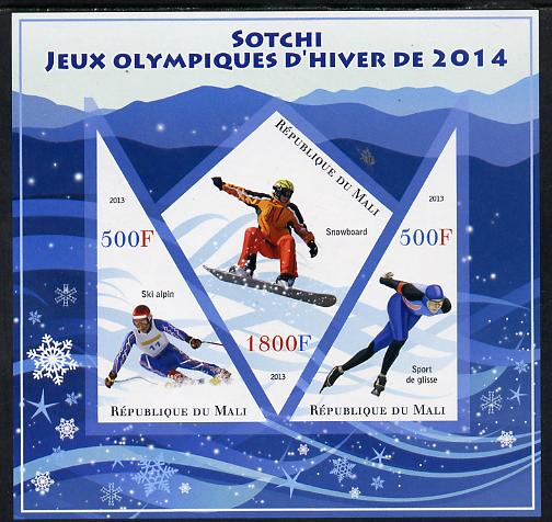 Mali 2013 Sotchi Winter Olympics imperf sheetlet containing 2 triangular & one diamond shaped values unmounted mint