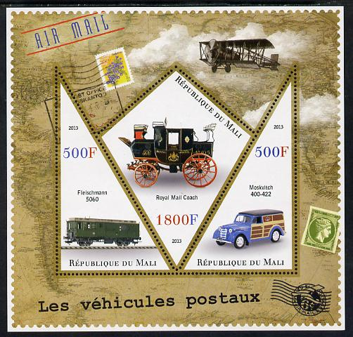 Mali 2013 Postal Vehicles perf sheetlet containing 2 triangular & one diamond shaped values unmounted mint