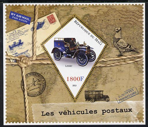 Mali 2013 Postal Vehicles perf s/sheet containing one diamond shaped value unmounted mint
