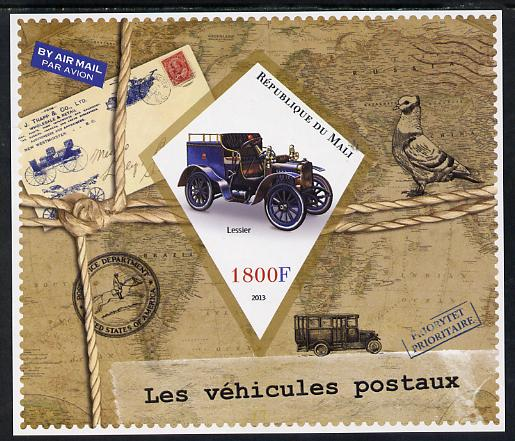 Mali 2013 Postal Vehicles imperf s/sheet containing one diamond shaped value unmounted mint