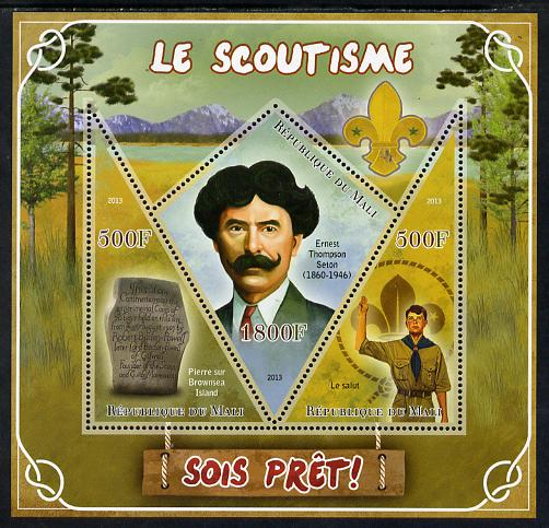 Mali 2013 Scouting perf sheetlet containing 2 triangular & one diamond shaped values unmounted mint