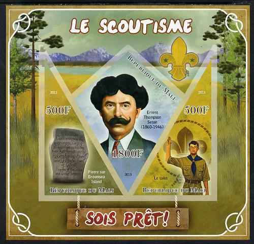 Mali 2013 Scouting imperf sheetlet containing 2 triangular & one diamond shaped values unmounted mint