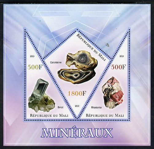 Mali 2013 Minerals #1 perf sheetlet containing 2 triangular & one diamond shaped values unmounted mint
