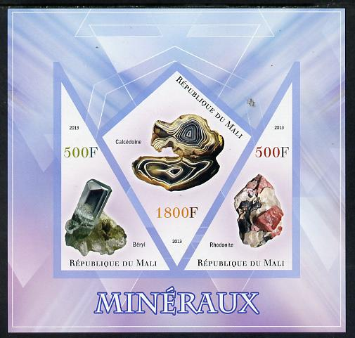 Mali 2013 Minerals #1 imperf sheetlet containing 2 triangular & one diamond shaped values unmounted mint