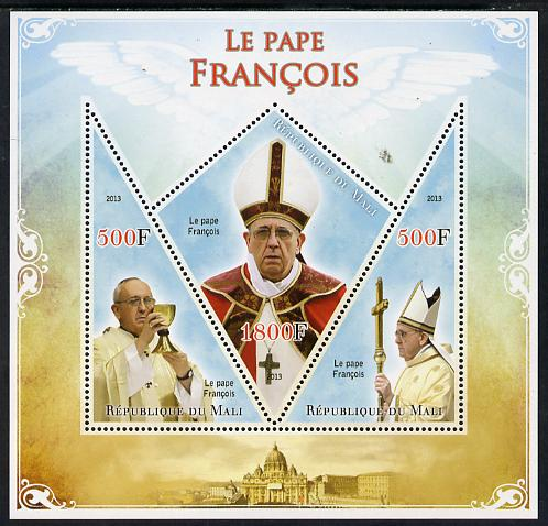 Mali 2013 French Popes perf sheetlet containing 2 triangular & one diamond shaped values unmounted mint