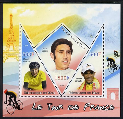 Mali 2013 Le Tour de France perf sheetlet containing 2 triangular & one diamond shaped values unmounted mint