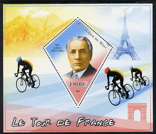 Mali 2013 Le Tour de France perf s/sheet containing one diamond shaped value unmounted mint