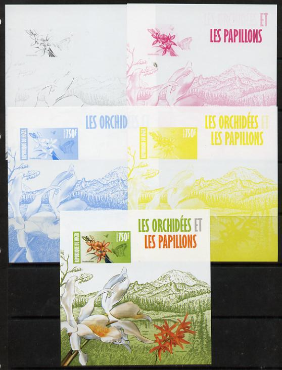 Niger Republic 2013 Orchids & Butterflies #1 m/sheet - the set of 5 imperf progressive proofs comprising the 4 individual colours plus all 4-colour composite, unmounted mint