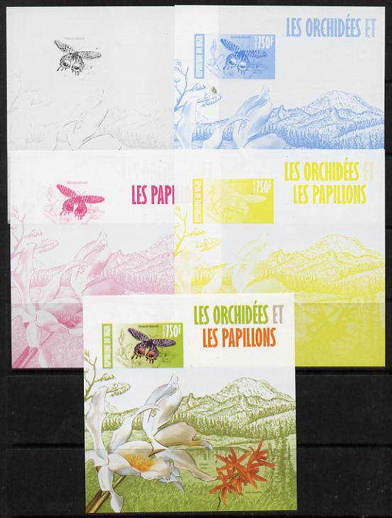 Niger Republic 2013 Orchids & Butterflies #2 m/sheet - the set of 5 imperf progressive proofs comprising the 4 individual colours plus all 4-colour composite, unmounted mint