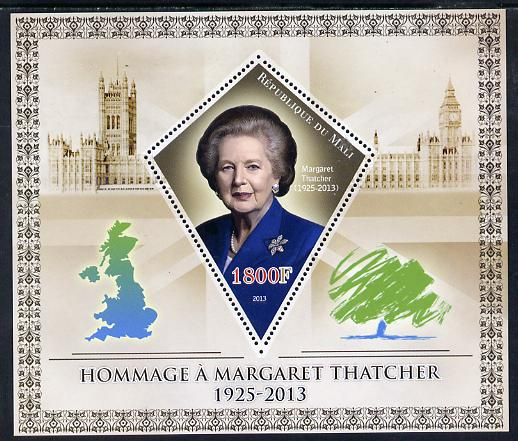 Mali 2013 Tribute to Margaret Thatcher perf s/sheet containing Diamond Shaped value unmounted mint
