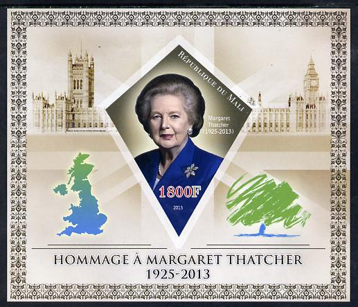 Mali 2013 Tribute to Margaret Thatcher imperf s/sheet containing Diamond Shaped value unmounted mint