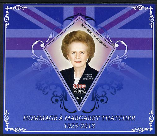 Madagascar 2013 Tribute to Margaret Thatcher perf s/sheet containing Diamond Shaped value unmounted mint