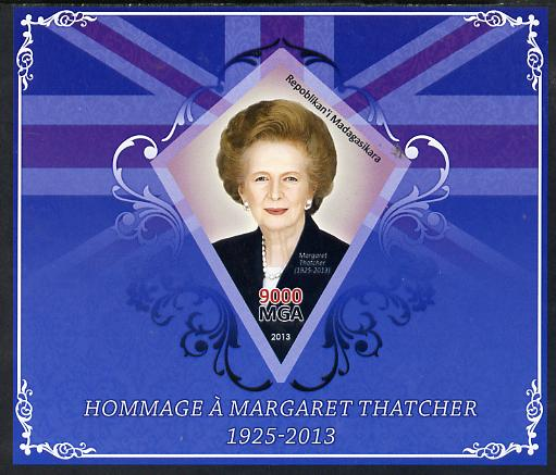 Madagascar 2013 Tribute to Margaret Thatcher imperf s/sheet containing Diamond Shaped value unmounted mint