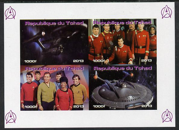 Chad 2013 Star Trek #4 imperf sheetlet containing 4 vals unmounted mint. Note this item is privately produced and is offered purely on its thematic appeal.