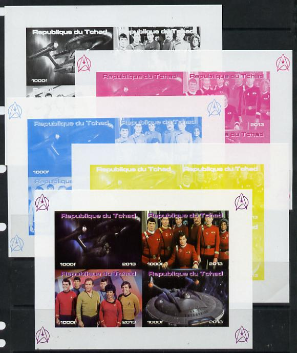Chad 2013 Star Trek #4 sheetlet containing 4 vals - the set of 5 imperf progressive colour proofs comprising the 4 basic colours plus all 4-colour composite unmounted mint
