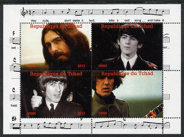 Chad 2013 The Beatles - George Harrison perf sheetlet containing 4 vals unmounted mint. Note this item is privately produced and is offered purely on its thematic appeal.