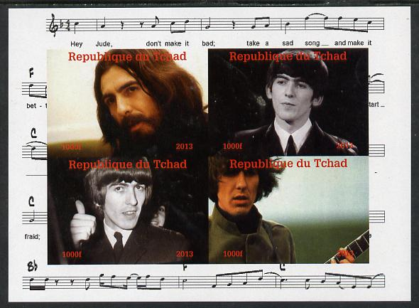 Chad 2013 The Beatles - George Harrison imperf sheetlet containing 4 vals unmounted mint. Note this item is privately produced and is offered purely on its thematic appeal.