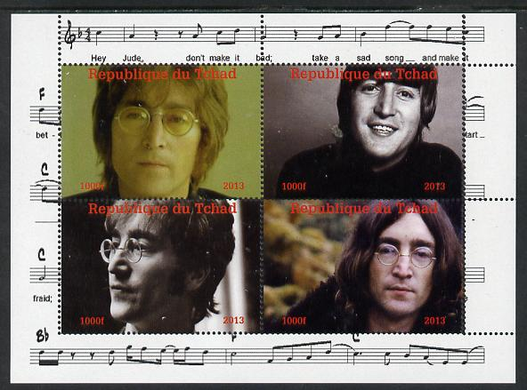 Chad 2013 The Beatles - John Lennon perf sheetlet containing 4 vals unmounted mint. Note this item is privately produced and is offered purely on its thematic appeal.