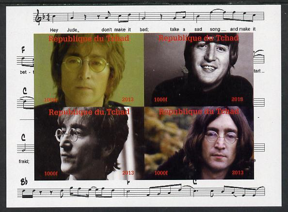 Chad 2013 The Beatles - John Lennon imperf sheetlet containing 4 vals unmounted mint. Note this item is privately produced and is offered purely on its thematic appeal.
