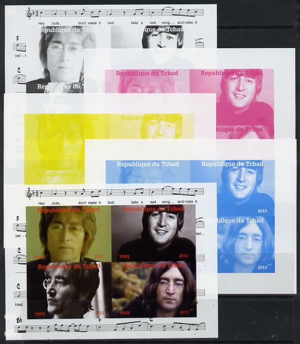 Chad 2013 The Beatles - John Lennon sheetlet containing 4 vals - the set of 5 imperf progressive colour proofs comprising the 4 basic colours plus all 4-colour composite unmounted mint