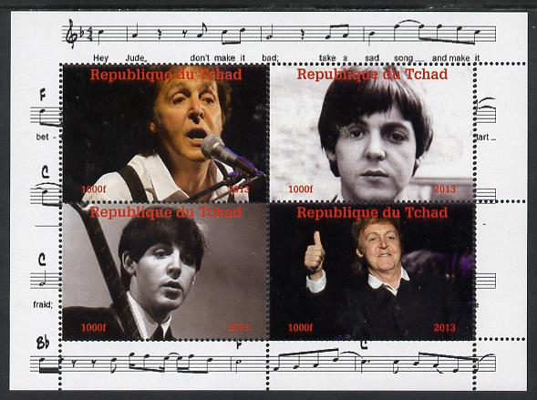 Chad 2013 The Beatles - Paul McCartney perf sheetlet containing 4 vals unmounted mint. Note this item is privately produced and is offered purely on its thematic appeal.