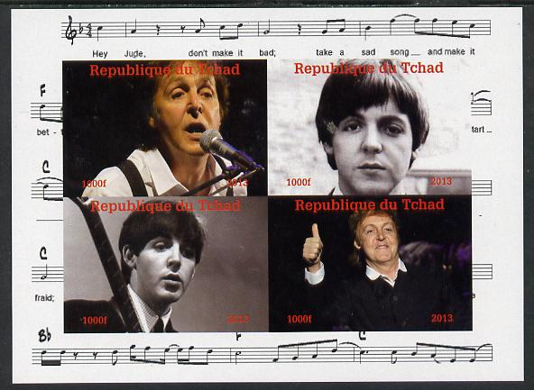Chad 2013 The Beatles - Paul McCartney imperf sheetlet containing 4 vals unmounted mint. Note this item is privately produced and is offered purely on its thematic appeal.