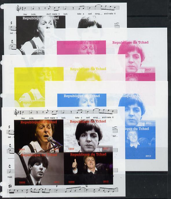 Chad 2013 The Beatles - Paul McCartney sheetlet containing 4 vals - the set of 5 imperf progressive colour proofs comprising the 4 basic colours plus all 4-colour composite unmounted mint