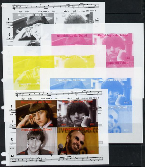 Chad 2013 The Beatles - Ringo Starr sheetlet containing 4 vals - the set of 5 imperf progressive colour proofs comprising the 4 basic colours plus all 4-colour composite unmounted mint