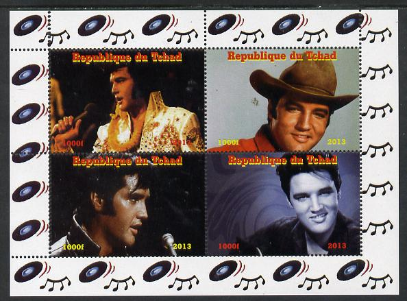 Chad 2013 Elvis Presley #1 perf sheetlet containing 4 vals unmounted mint