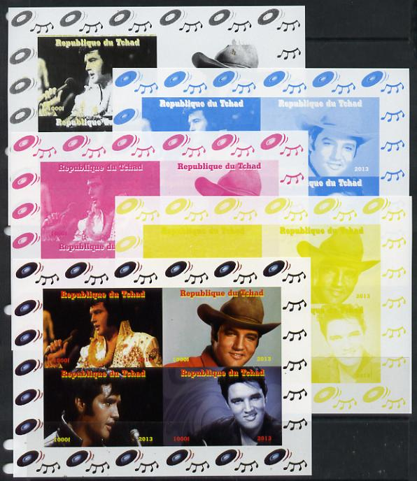 Chad 2013 Elvis Presley #1 sheetlet containing 4 vals - the set of 5 imperf progressive colour proofs comprising the 4 basic colours plus all 4-colour composite unmounted mint