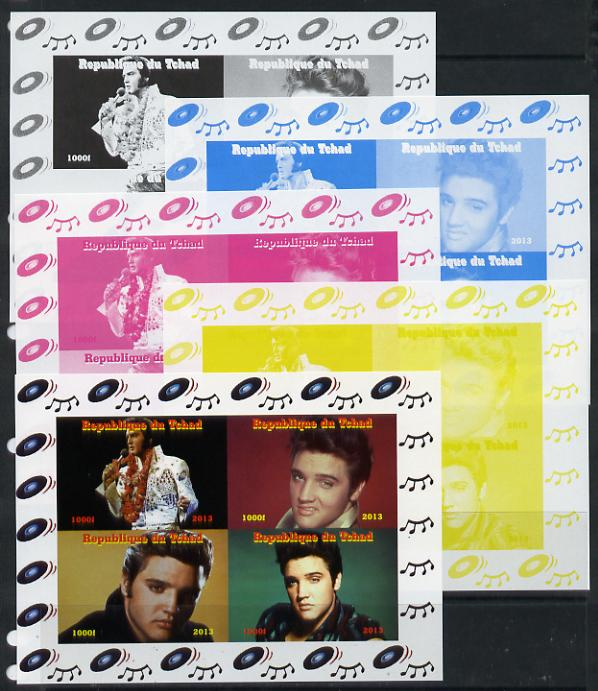 Chad 2013 Elvis Presley #2 sheetlet containing 4 vals - the set of 5 imperf progressive colour proofs comprising the 4 basic colours plus all 4-colour composite unmounted mint