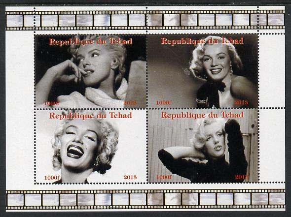 Chad 2013 Marilyn Monroe #1 perf sheetlet containing 4 vals unmounted mint. Note this item is privately produced and is offered purely on its thematic appeal.