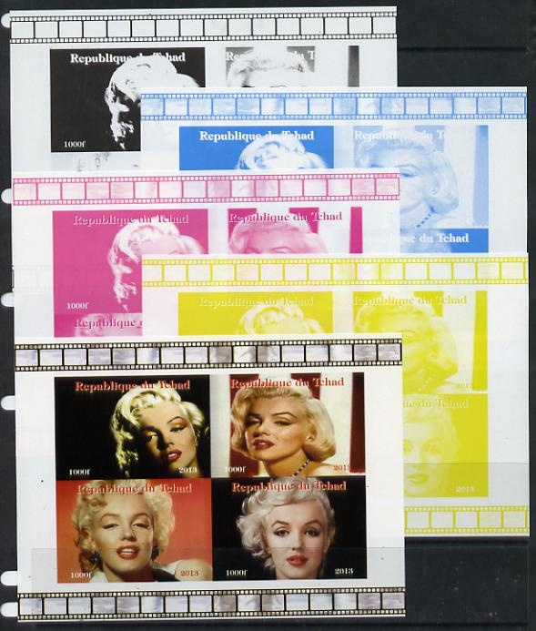 Chad 2013 Marilyn Monroe #2 sheetlet containing 4 vals - the set of 5 imperf progressive colour proofs comprising the 4 basic colours plus all 4-colour composite unmounted mint