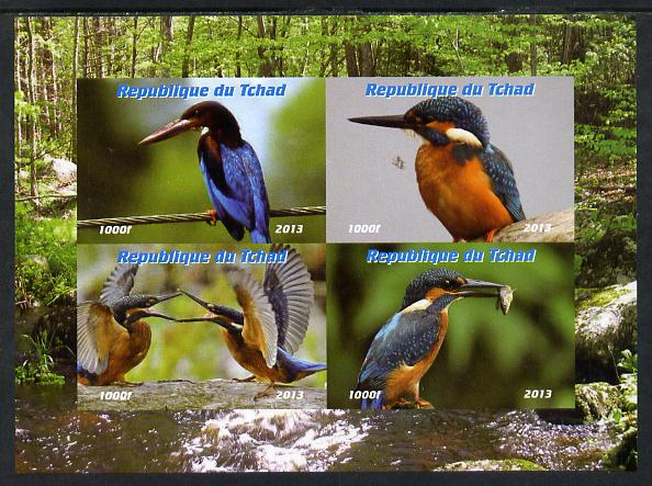 Chad 2013 Birds - Kingfishers imperf sheetlet containing 4 vals unmounted mint. Note this item is privately produced and is offered purely on its thematic appeal.