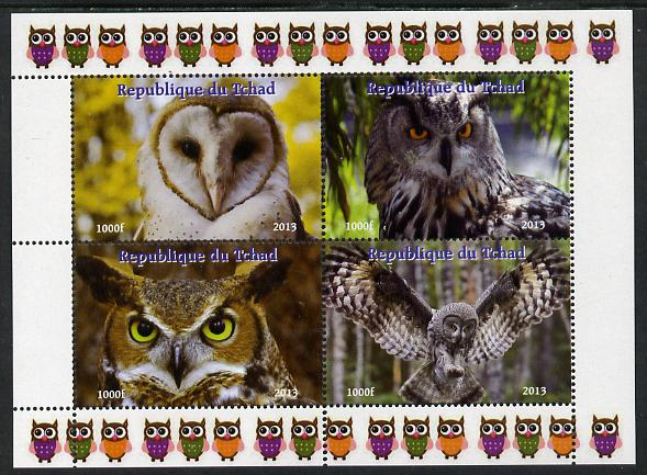 Chad 2013 Birds - Owls #1  perf sheetlet containing 4 vals unmounted mint. Note this item is privately produced and is offered purely on its thematic appeal.