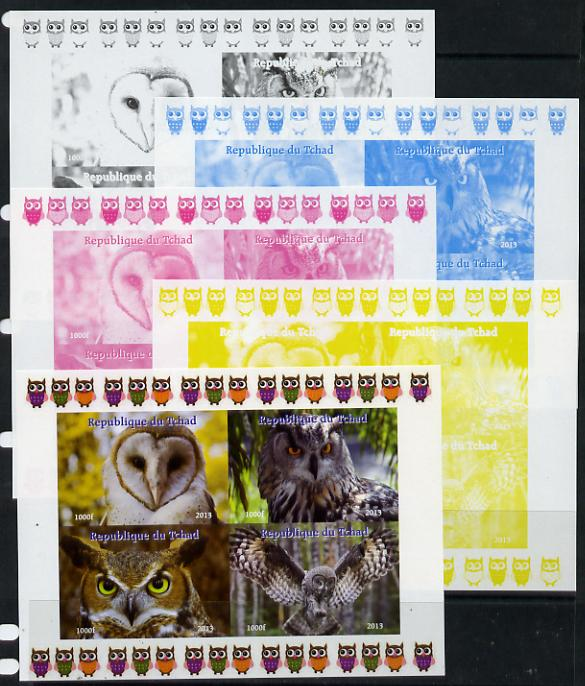 Chad 2013 Birds - Owls #1  sheetlet containing 4 vals - the set of 5 imperf progressive colour proofs comprising the 4 basic colours plus all 4-colour composite unmounted...