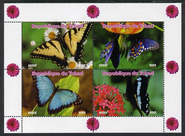 Chad 2013 Butterflies #05 perf sheetlet containing 4 vals unmounted mint. Note this item is privately produced and is offered purely on its thematic appeal.