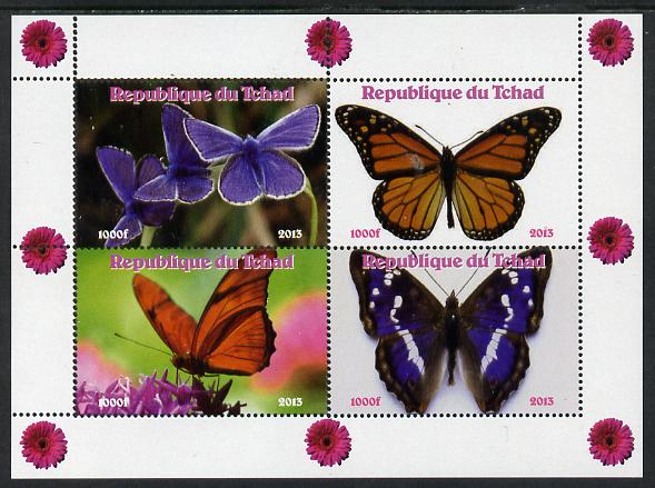 Chad 2013 Butterflies #06 perf sheetlet containing 4 vals unmounted mint. Note this item is privately produced and is offered purely on its thematic appeal.