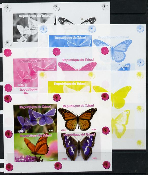 Chad 2013 Butterflies #06 sheetlet containing 4 vals - the set of 5 imperf progressive colour proofs comprising the 4 basic colours plus all 4-colour composite unmounted mint