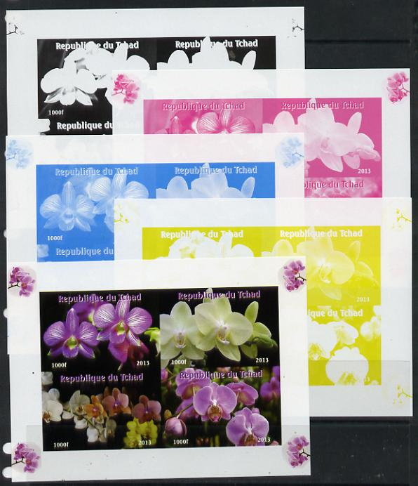 Chad 2013 Orchids sheetlet containing 4 vals - the set of 5 imperf progressive colour proofs comprising the 4 basic colours plus all 4-colour composite unmounted mint