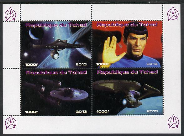 Chad 2013 Star Trek #3 perf sheetlet containing 4 vals unmounted mint. Note this item is privately produced and is offered purely on its thematic appeal.