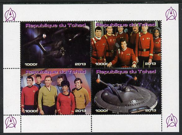 Chad 2013 Star Trek #4 perf sheetlet containing 4 vals unmounted mint. Note this item is privately produced and is offered purely on its thematic appeal.