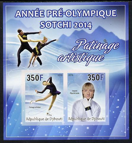 Djibouti 2013 Sochi Winter Olympics - Ice Dance imperf sheetlet containing 2 values unmounted mint