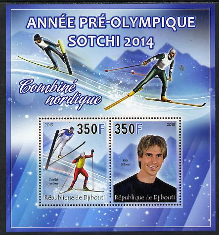 Djibouti 2013 Sochi Winter Olympics - Combined Skiing perf sheetlet containing 2 values unmounted mint