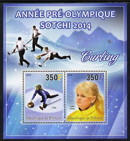 Djibouti 2013 Sochi Winter Olympics - Curling perf sheetlet containing 2 values unmounted mint