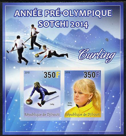 Djibouti 2013 Sochi Winter Olympics - Curling imperf sheetlet containing 2 values unmounted mint